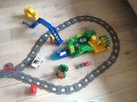 Lego Duplo train, zoo, playground, fire station