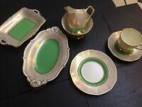 Tuscan Tea Set Art Deco Green Gold English Fine Bone China.