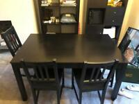 Ikea dark brown dining table and chairs