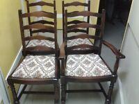4 dining chairs,solid oak,ladder back,carved,clean cushion,1 carver