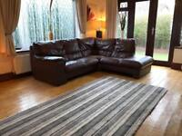 Dfs Brown Leather Corner Sofa Good Condition