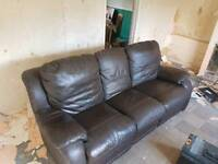 Brown leather 3 seater sofa