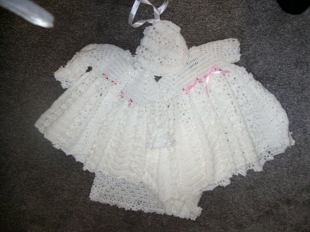 0206eaf52 Heirloom New Hand Crochet Baby Girl Christening set. Shawl