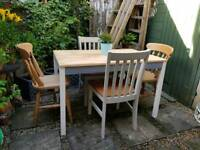 Solid Pine Kitchen Table & Four Chairs