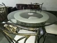 Stunning round glass , marble and wrought iron dinning table & 4 chairs