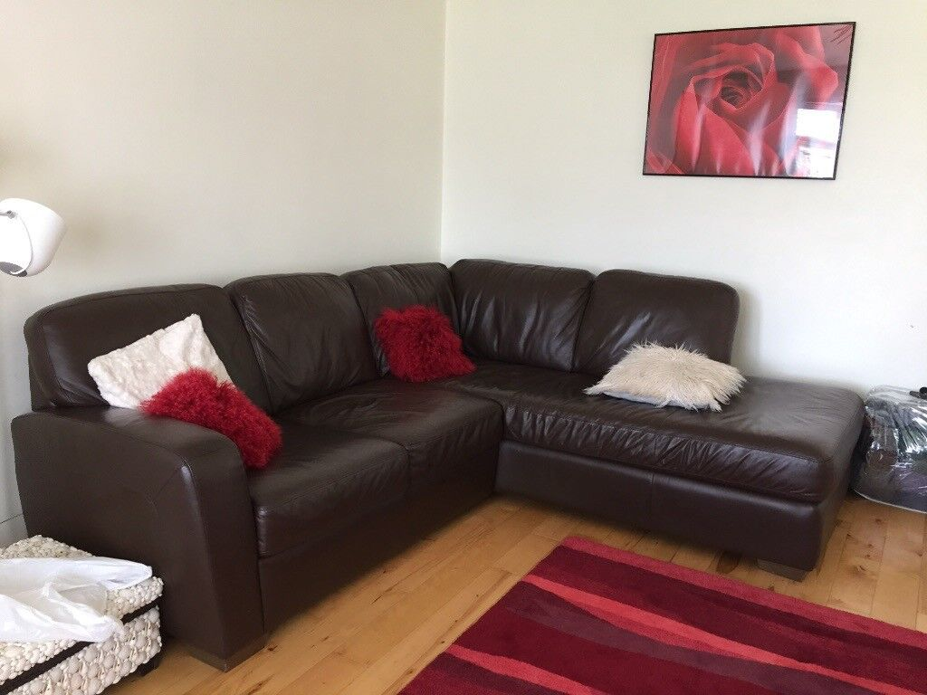 Brown Leather L Shaped Sofa Natuzzi In Londonderry County