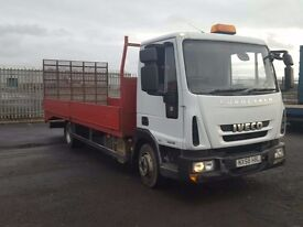 2009-58 iveco 75e16 20ft dropside beavertail with hydrulic ramp and winch low klms