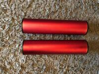 2 red ganza metal shakers for sale
