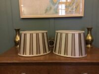 Laura Ashley Table Lamp Shades - Unwrapped but unused. Cream & Brown, 20cm high (8 inches).