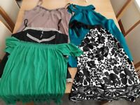 ladies size 16 bundle including black mac, brown gilet, 2 dresses, 2 skirts, tops