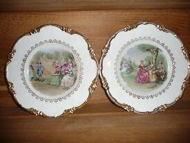 Pair of Regency bone china decorative plates