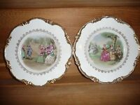 Pair of Regency bone china decorative plates