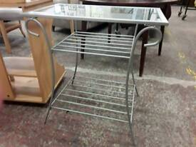 Patio Metallic Glass Topped Display Stand