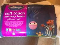 Silent night soft touch memory foam pillow pair