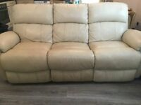 Cream leather 3 seater recliner sofa