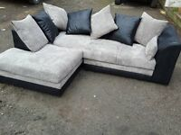 Really nice Brand New black and grey cord corner sofa. left or right hand. delivery