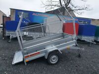 BRAND NEW MODEL 8.7x4.2 SINGLE AXLE TRAILER WITH 80CM MESH AND MANUAL TIPPING FEATURE 750KG