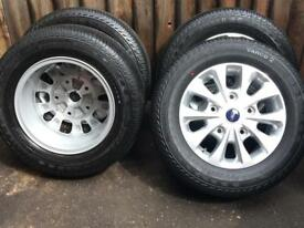 """4 x Genuine 16"""" Ford Transit Custom Alloy Wheels With Continental Tyres Brand New"""