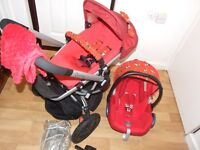 minnie mouse quinny buzz 3 travel system in red with brand new covers