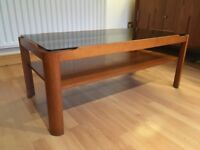 Vintage Retro 'Myer' Teak & Smoked Glass Coffee Table(Medium)