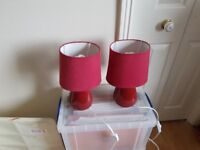Pair of Red Bedside Lamps - Very Good Condition