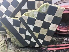 Original Victorian black and white floor tiles