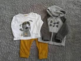 6-9 Month Trouser, T-shirt, Dungarees, Shoe Sets (£5 each set)