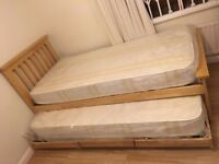 John Lewis £800 Solid Oak Guest Lift-up Trundle Bed, New Mattresses, Free Delivery