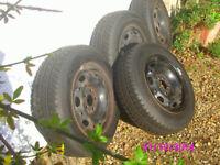 """SNOW TYRES. Four """"Avon"""" Ice Touring tyres and wheels 165/70R 14 ."""