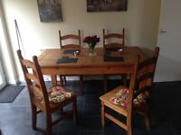 Mexican pine table with 6 chairs