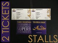 DISNEY ALADDIN 30 Mar 2017 MUSICAL TICKETS 2 SEATS STALLS TICKET PAIR LONDON PRINCE EDWARD DISNEYS