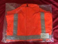 Orange hi-vis waterproof smock (forestry/tree surgery/other outdoors work)