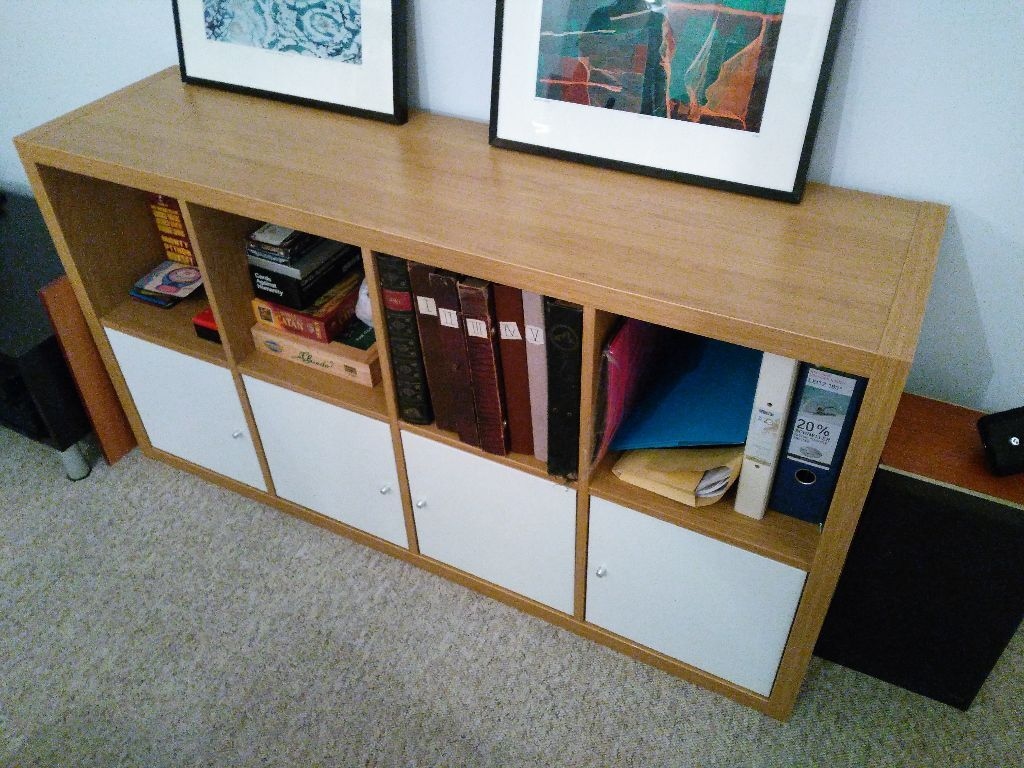 Ikea Variera Door Mounted Storage ~ Ikea Kallax (expedit) 4×2 oak shelves with cupboard inserts  nearly
