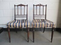 PAIR OF VICTORIAN MAHOGANY CHAIRS WITH CARVED DETAIL FOR REFURB FREE DELIVERY