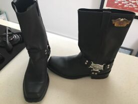 Size 12, Genuine Harley Davidson leather boots, only worn from the shop to hotel in San Fransisco!