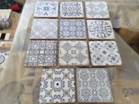WHITE BLUE VINTAGE DECOR 15X15cm WALL TILES ANDALUSIAN SPANISH STYLE MIXED DESIGNS 5m2