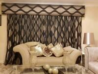 Heavy designer big puffy pelmet curtains tie back 4 cushions
