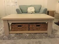 White pine coffee table with baskets