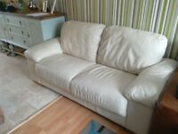 Cream leather 2 seater sofa used good clean condition