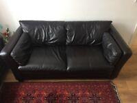 John Lewis Genuine Leather 3 Seater Sofa - Dark Brown