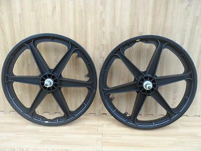 "Pair of 20"" Bicycle Mag Wheels Set 6 SPOKE BLACK FOR GT DYNO HARO any BMX BIKE"