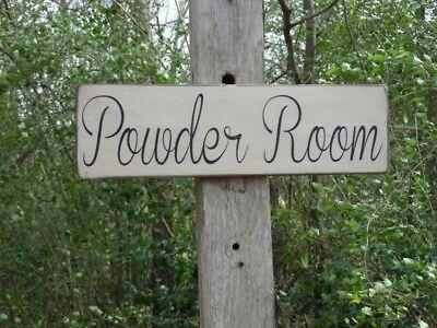 Powder Room Primitive Wood Sign, Distressed Bathroom Sign, Antiqued Signs (Antique Powder Room Sign)