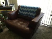 2 large leather club chairs