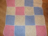 "New hand made crochet baby blanket aprox 31"" square"