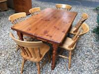 Solid pine farmhouse table & chair set with delivery