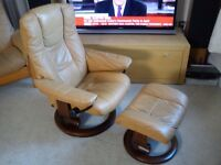 PRISTINE Ekornes STRESSLESS Leather Recliner Armchair with Footstool