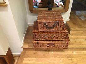 Three Hamper baskets storage wicker