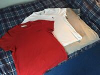 3 t-shirts for sale at £30, clean, hardly used, excellent condition, no marks or stains