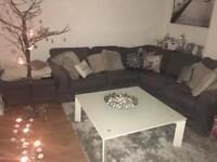 Large white glass & metal coffee table