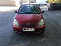 2002 52 PLATE TOYOTA YARIS 1.0 VVTI COLOUR COLLECTION